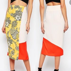 River Island Colour Block Print Wrap Midi